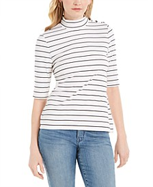 Striped Mock-Neck Top, Created for Macy's