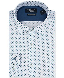 Men's Slim-Fit Square-Print Dress Shirt