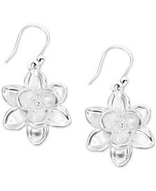 Silver-Tone Flower Drop Earrings