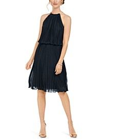 Pleated Halter Fit & Flare Dress