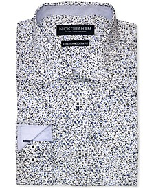 Men's Modern-Fit Mini-Floral Dress Shirt