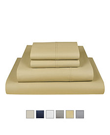 Fisher West New York The Village 500 Thread Count Cotton Queen Sheet 4-Piece Set, Fits Mattress Upto 17""