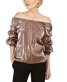 Metallic Off-The-Shoulder Ruched-Sleeve Top