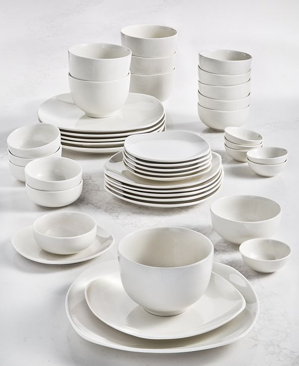 Tabletops Unlimited Inspiration by Denmark Soft Square 42-Pc. Dinnerware Set, Service for 6