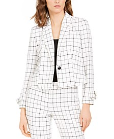 Printed Single-Button Blazer