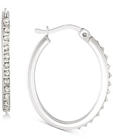 Diamond Accent Oval Hoop Earrings in Platinum over Sterling Silver, Created for Macy's