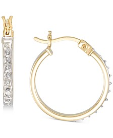 Diamond Accent Round Hoop Earrings in 18k Gold-Plated Sterling Silver, Created for Macy's