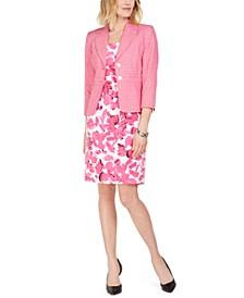 Tweed Blazer & Floral-Print Crepe Dress