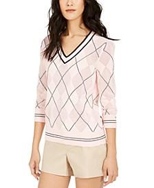 Argyle Pointelle Cotton Sweater