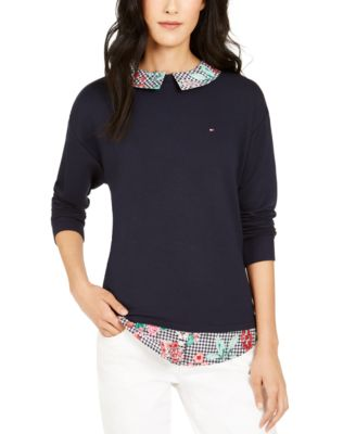 PM, Black Style /& Co Women/'s Layered-Look Plaid Top