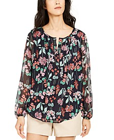 Pintucked Floral-Print Top