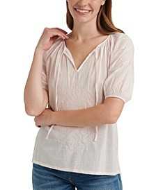 Cotton Embroidered Split-Neck Top