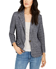 One-Button Knit Blazer