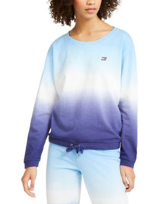 Cotton Ombré Wide-Neck Sweatshirt