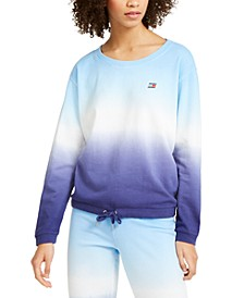 Cotton Ombré Wide-Neck Sweatshirt