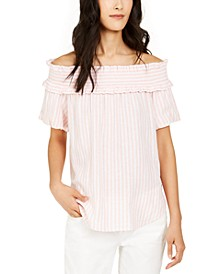 Striped Ruffled Off-The-Shoulder Top