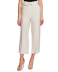Belted Paperbag-Waist Pull-On Pants
