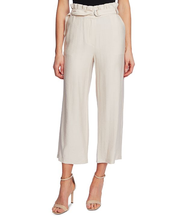 CeCe Belted Paperbag-Waist Pull-On Pants