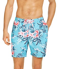 "Men's Hibiscus Floral 7"" Swim Trunks, Created for Macy's"