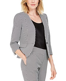 Petite Circle Jacquard One-Button Blazer