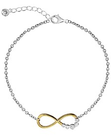 BODIFINE Two-Tone 10K Gold- Tone Sterling Silver-Tone Infinity Anklet