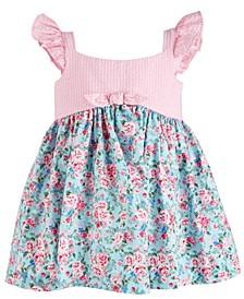 Baby Girls Striped-Bodice Floral-Print Ruffle Dress