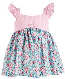 Bonnie Baby Baby Girls Striped-Bodice Floral-Print Ruffle Dress