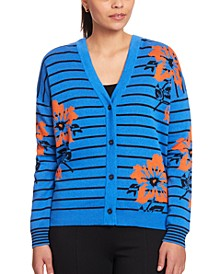 Mixed-Print V-Neck Cardigan