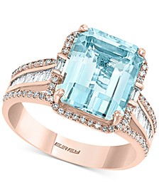 EFFY® Aquamarine (3-7/8 ct. t.w.) & Diamond (1/2 ct. t.w.) Emerald-Cut Halo Statement Ring in 14k Rose Gold