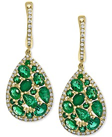 EFFY® Emerald (3-1/2 ct. t.w.) & Diamond (3/8 ct. t.w.) Drop Earrings in 14k Gold