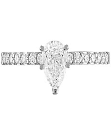 Diamond Pear Engagement Ring (1 ct. t.w.) in 14k White Gold