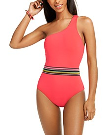 Cabo Wabo Asymmetrical Banded One-Piece Swimsuit, Created for Macy's