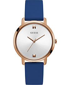 GUESS Women's Diamond-Accent Blue Silicone Strap Watch 40mm