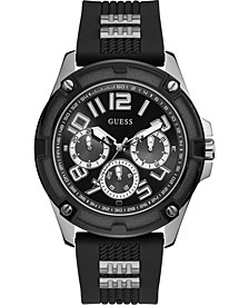 Men's Black Silicone Strap Watch 46mm