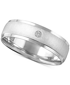 Men's Diamond Accent Textured Band in White Gold