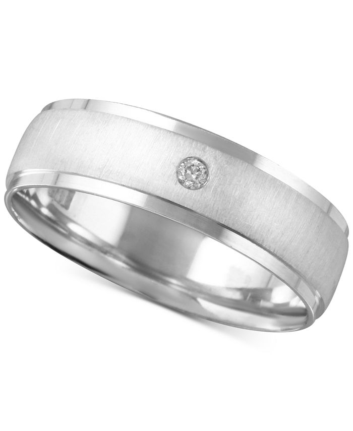 Macy's - Men's Diamond Accent Textured Band in White Gold