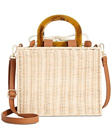 INC Monaa Straw Picnic Crossbody, Created for Macy's
