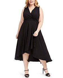 Plus Size Textured Faux-Wrap High-Low Dress