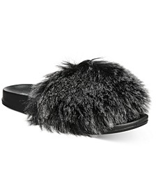INC Women's Faux-Fur Pool Slides, Created for Macy's