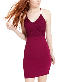 Juniors' Lace Racerback Bodycon Dress