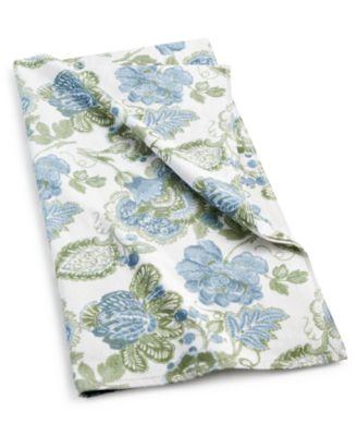 """Blue Jacobean Floral Cotton 30"""" x 54"""" Bath Towel"""