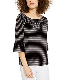 Striped Cotton Bell-Sleeve Top, Regular & Petite Sizes