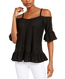 Michael Michael Kors Ruffled Eyelet Cold-Shoulder Top, Regular & Petite Sizes