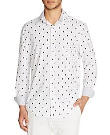 Men's Slim-Fit Performance Stretch Mini Skull Print Long Sleeve Shirt