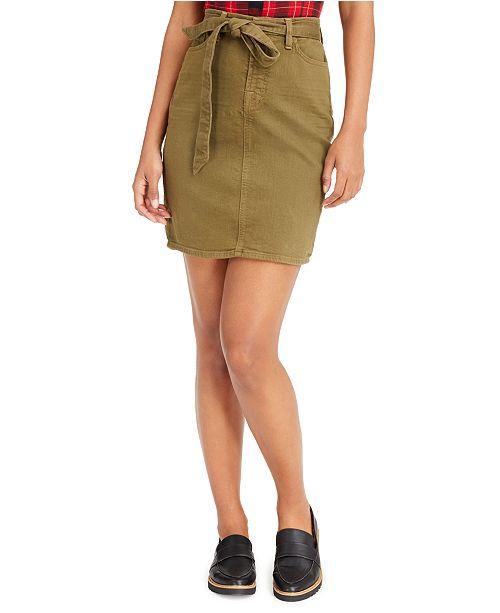 Jen7 by 7 For All Mankind Sash-Belt Colored Denim Pencil Skirt