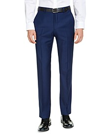 Men's Modern-Fit High Blue Pindot Suit Pants