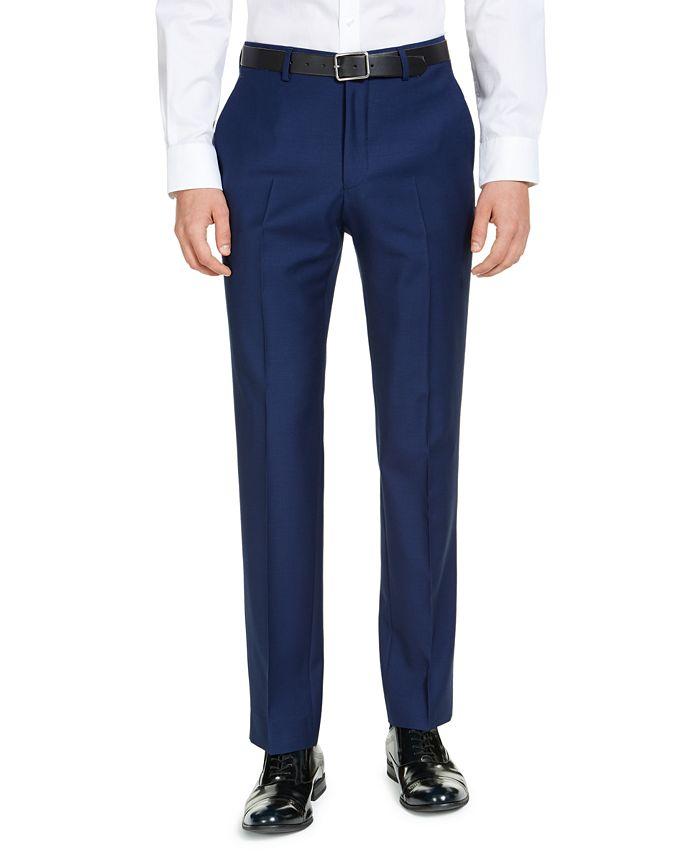 A|X Armani Exchange - Men's Modern-Fit High Blue Pindot Suit Pants
