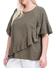 Plus Size Ruffled Short-Sleeve Sweatshirt
