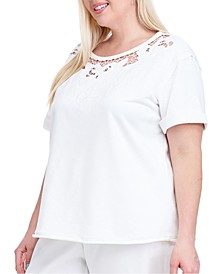 Plus Size Cutout Short-Sleeve Sweatshirt