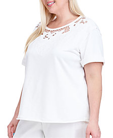 Fever Plus Size Cutout Short-Sleeve Sweatshirt